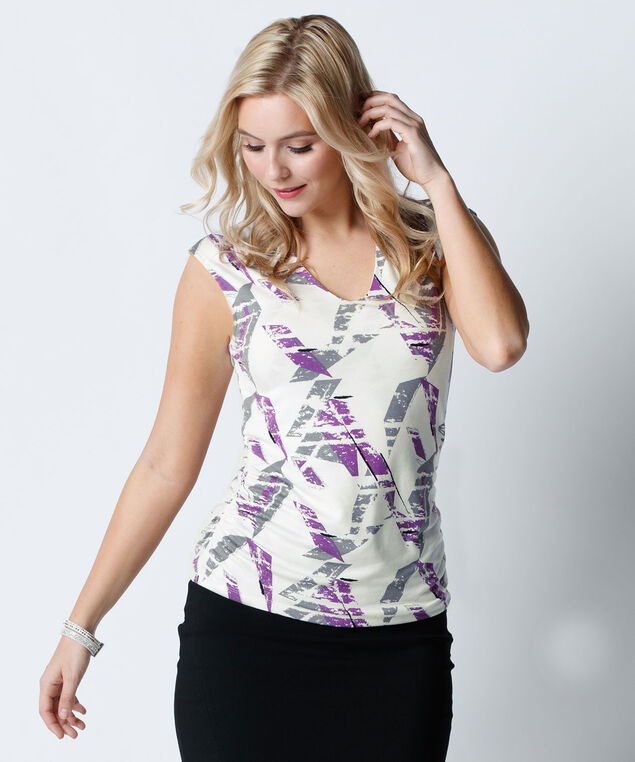 V-Neck Ruched Top, White Pattern, hi-res