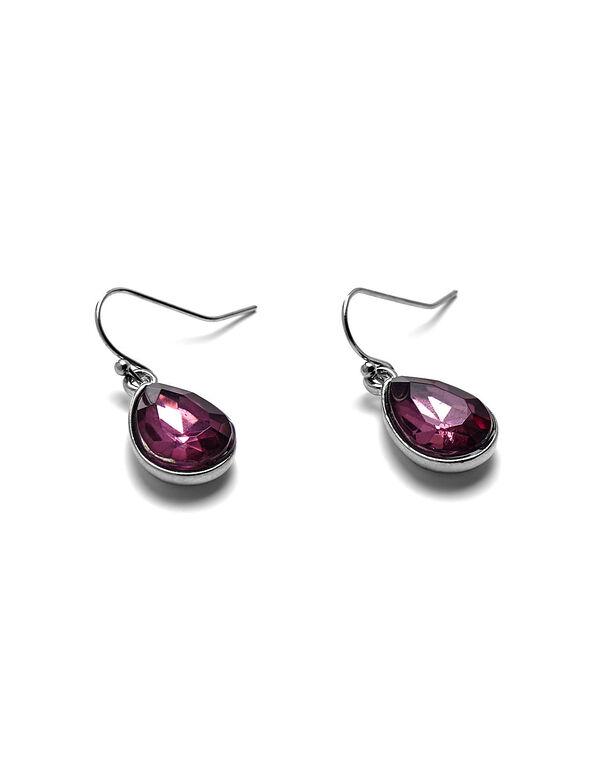 Purple Teardrop Earring, Hematite/Purple, hi-res
