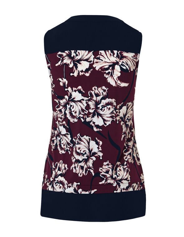 Claret Print Chiffon Trim Top, Navy/Claret/Dusty Pink, hi-res