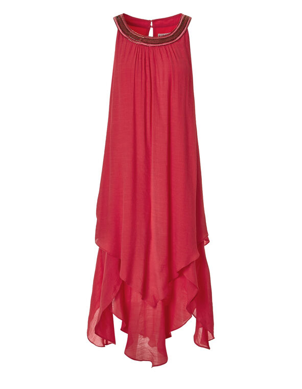 Coral Beaded Halter Dress, Coral, hi-res