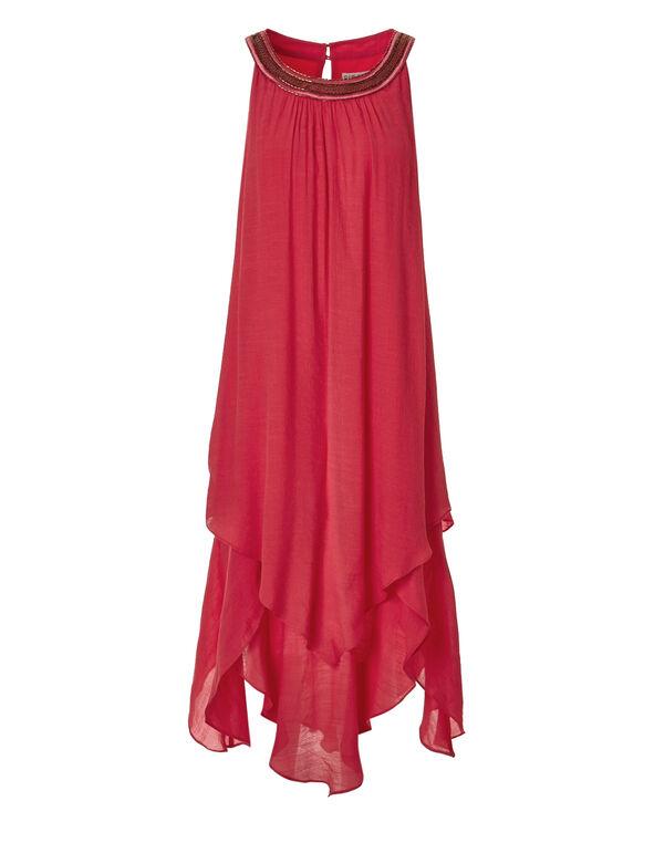 Coral Beaded Halter Dress, Coral, hi-res