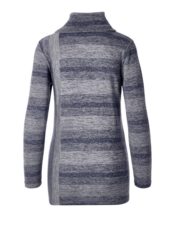 Navy Space Dye Tunic Top, Navy/Lt Grey, hi-res