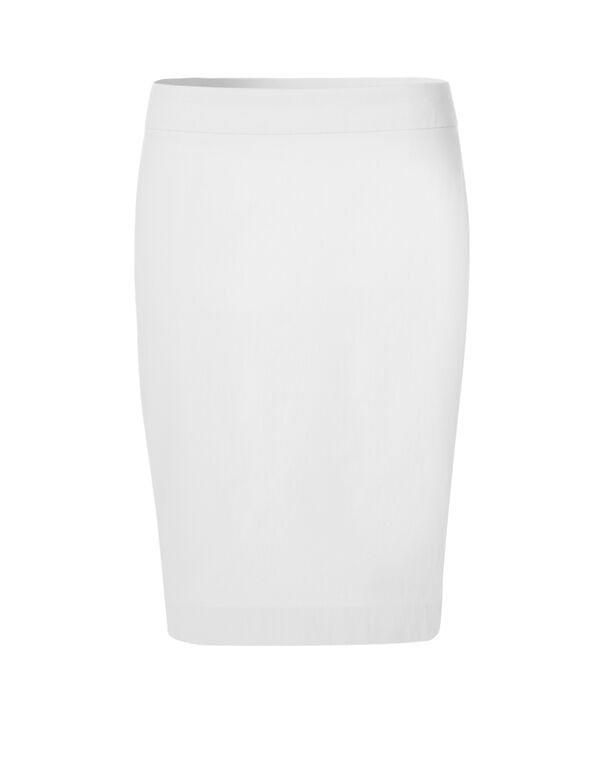 White Signature Pencil Skirt, White, hi-res