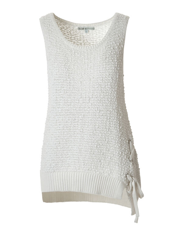 White Sleeveless Pullover Sweater, White, hi-res