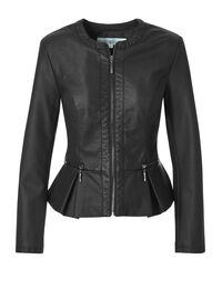 Black Peplum Faux Leather Jacket