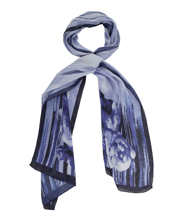 Watercolour Floral Scarf, Sapphire/Navy/Turquoise, hi-res