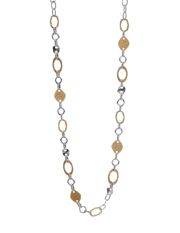 2 Tone Chain Link Necklace, Gold/Silver, hi-res