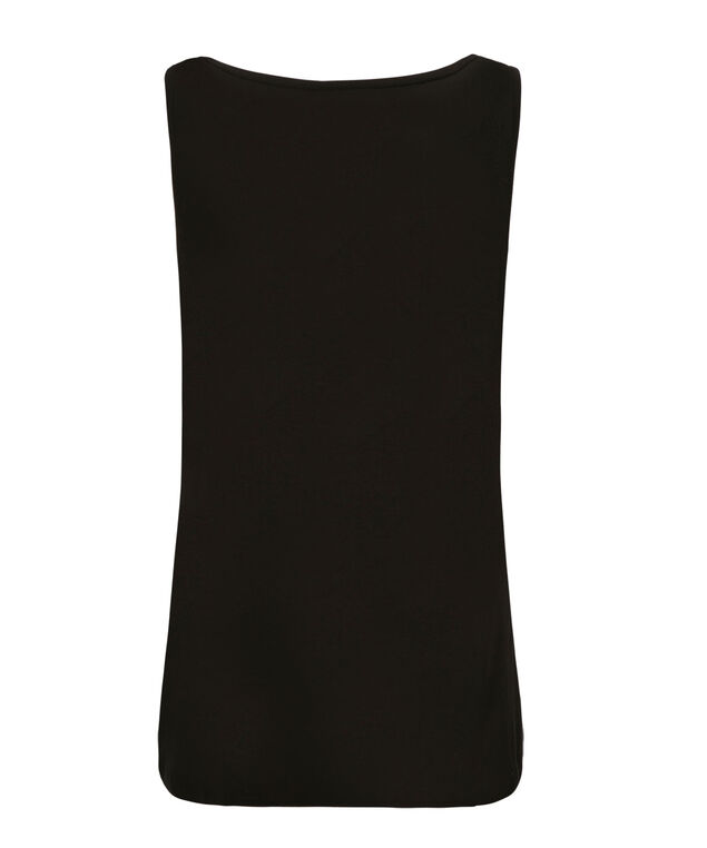 Crochet Notch Neck Tank, Black, hi-res