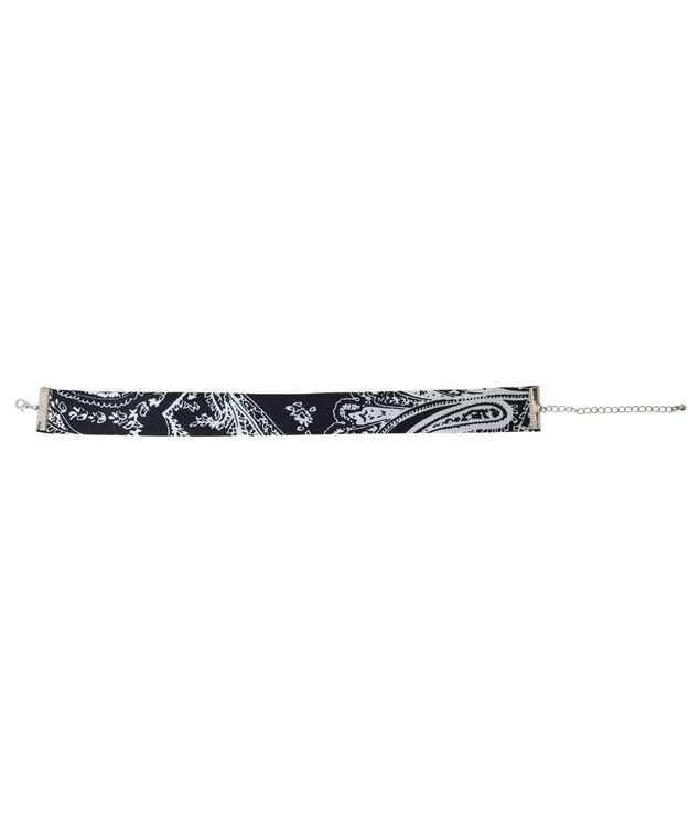 thick choker with handkerchief print, BLACK/WHITE, hi-res