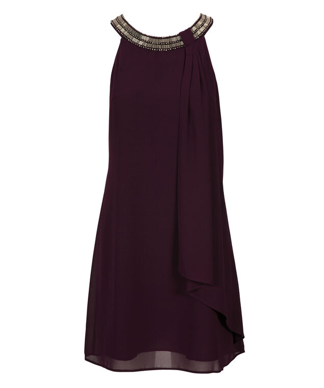 Jewel Neck Trapeze Dress, Purple, hi-res