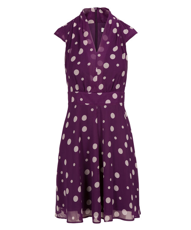 Shawl Collar Dress, Purple/Milkshake, hi-res