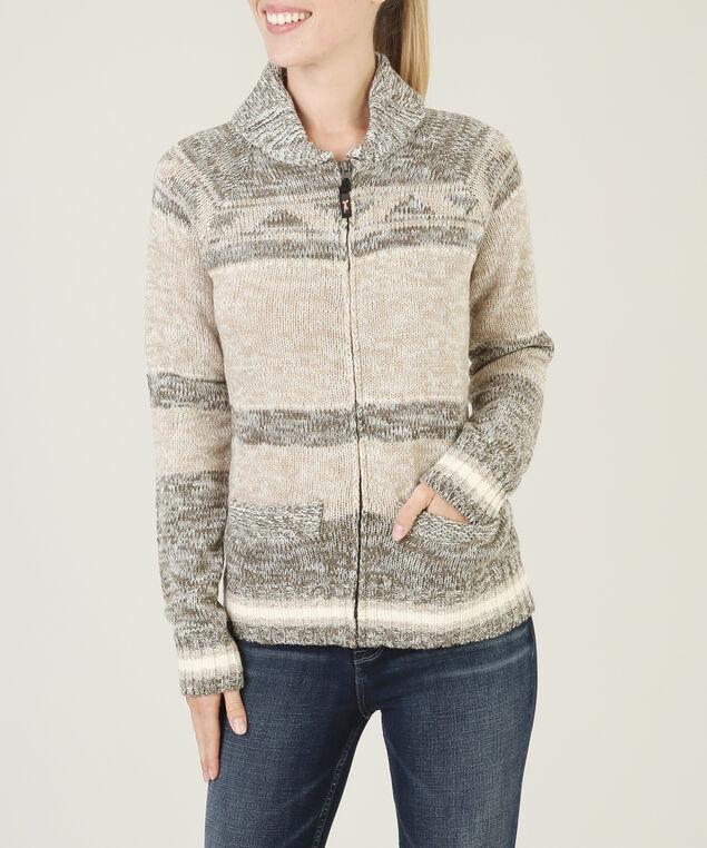zip up striped cardigan - wb, OLIVE/OAT MEL, hi-res