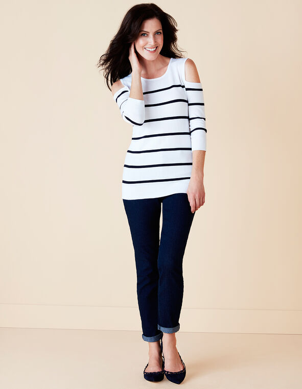 Cold Shoulder Stripe Sweater, White/Navy, hi-res