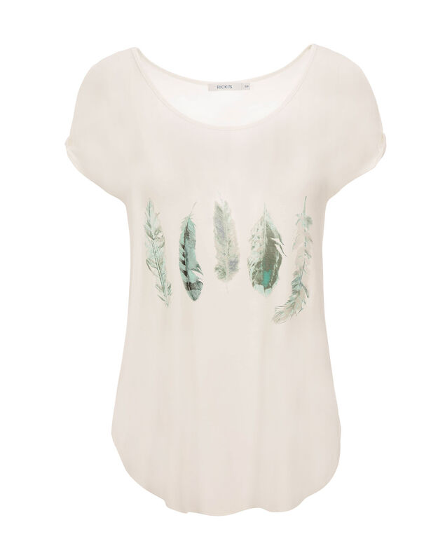 Feather Print Cold Shoulder, Milkshake Print, hi-res