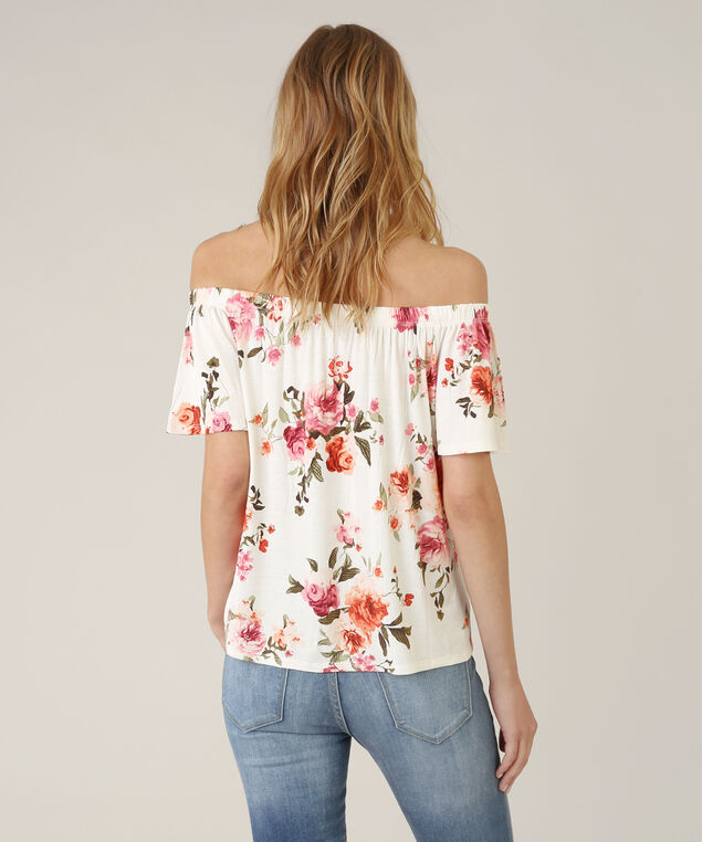off the shoulder flutter top - wb, IVORY FLORAL, hi-res