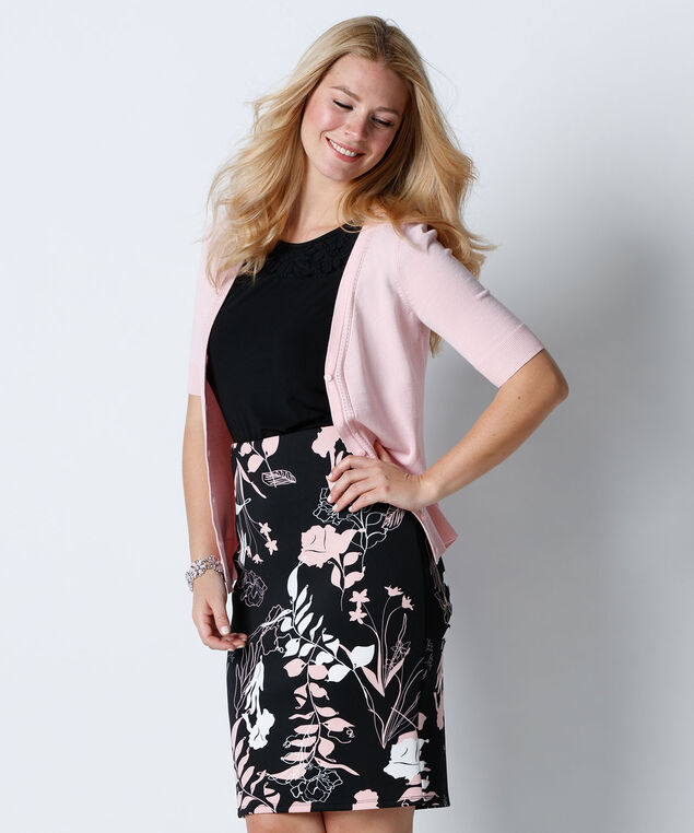 Printed Scuba Skirt, Misty Pink/Black Print, hi-res
