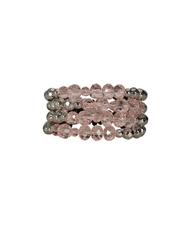 Faceted Stone Coil Bracelet, Misty Pink/Rhodium, hi-res