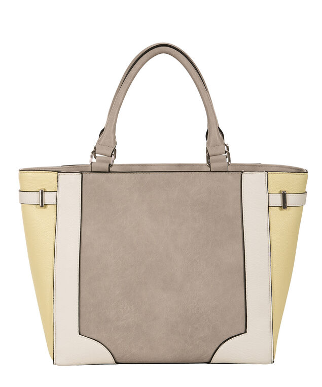 Colourblock Trapezoid Tote Bag, Yellow/Grey/Milkshake, hi-res