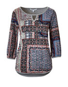 Printed Front Keyhole Top, Grey/Multi, hi-res