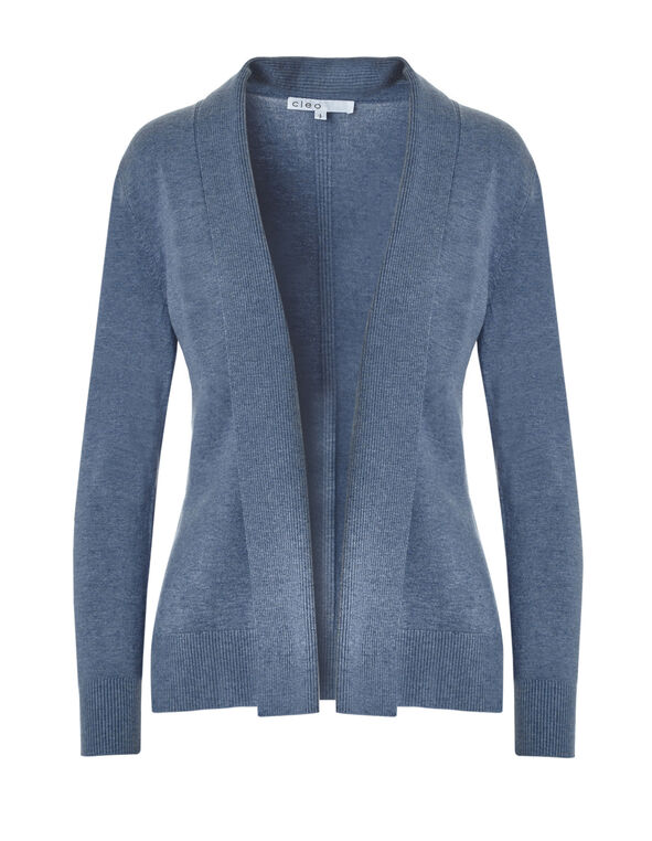 Denim Mid Ribbed Cardigan, Denim Melange, hi-res