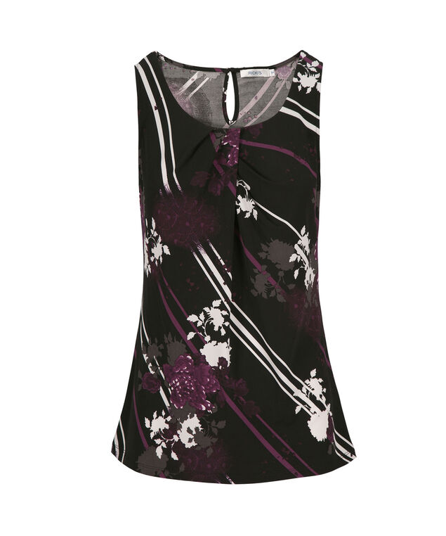 Pleated Tank, Purple Pattern, hi-res