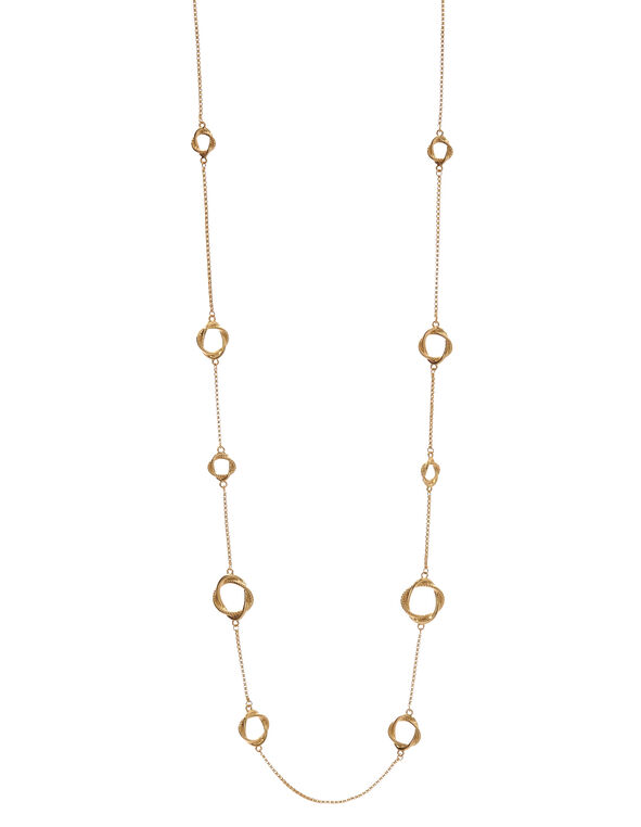 Long Gold Knotted Chain Necklace, Gold, hi-res