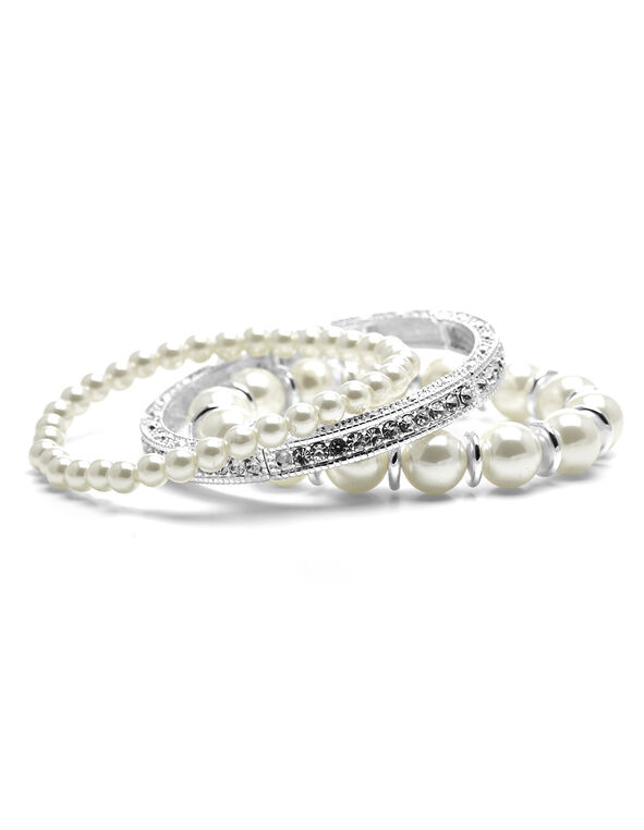 Ivory Pearl Bracelet Set, Silver/Pearl, hi-res