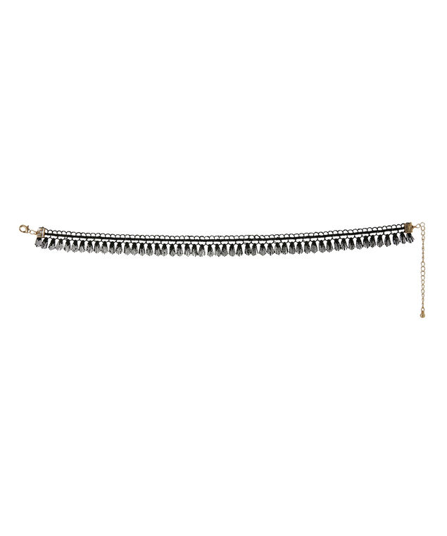 embroidered choker with tassels, BLACK, hi-res
