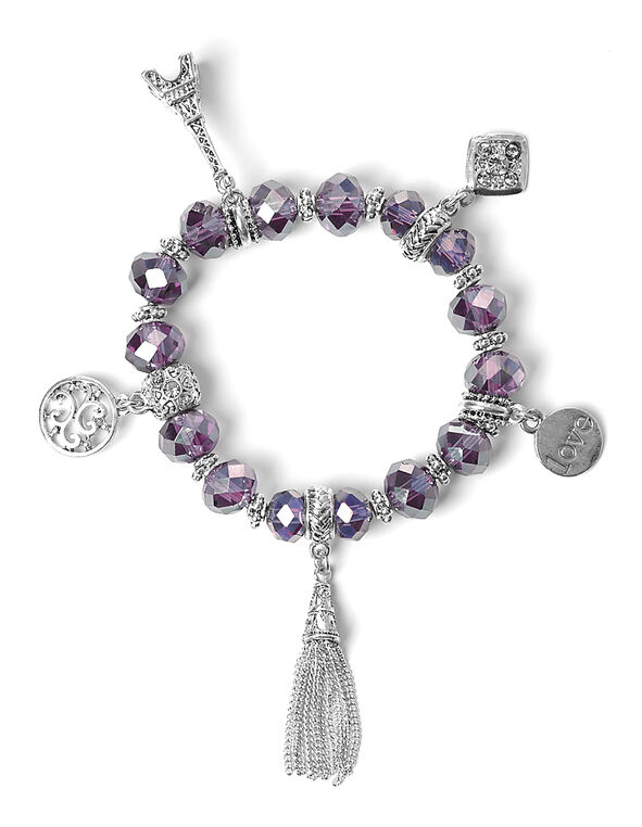 Purple Bead Stretch Bracelet, Silver/Purple, hi-res