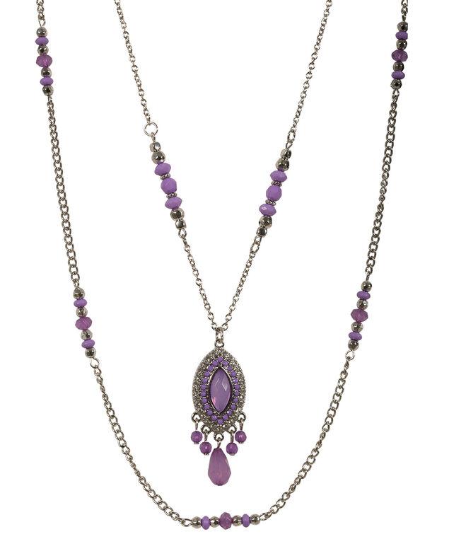 Layered Bead Pendant Necklace, Violet/Rhodium, hi-res