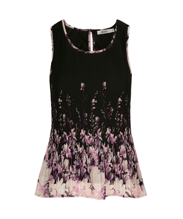 Pleated Tank, Purple Print, hi-res