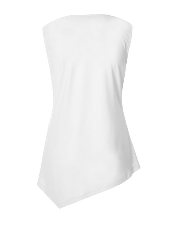 White Beaded Trim Top, White, hi-res
