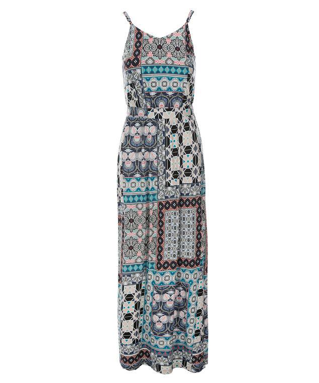 Patchwork Maxi Dress, Blue Print, hi-res