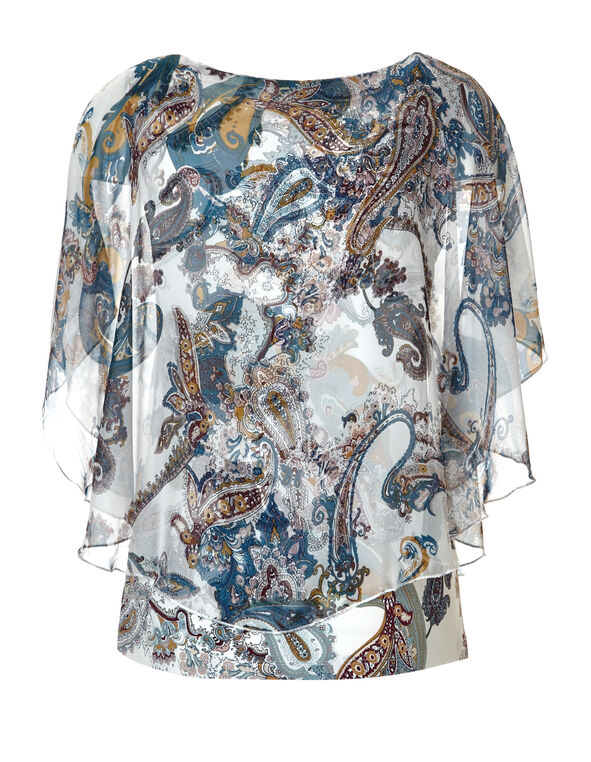 Paisley Print Caftan Blouse, White/Marigold/Turquoise/Claret, hi-res