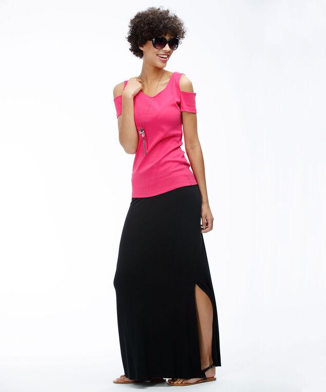 Knit Maxi Skirt, Black, hi-res