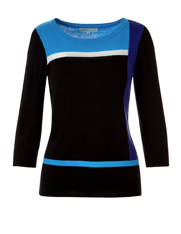 3/4 Sleeve Colour Block Sweater, Black/Ivory/Royal Blue/Washed Blue, hi-res