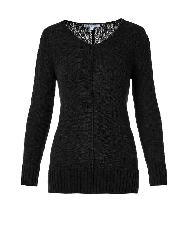 Black V-Neck Sweater, Black, hi-res