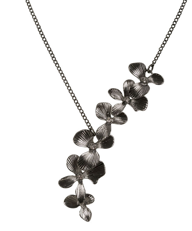 Asymmetrical Floral Necklace, Hematite, hi-res