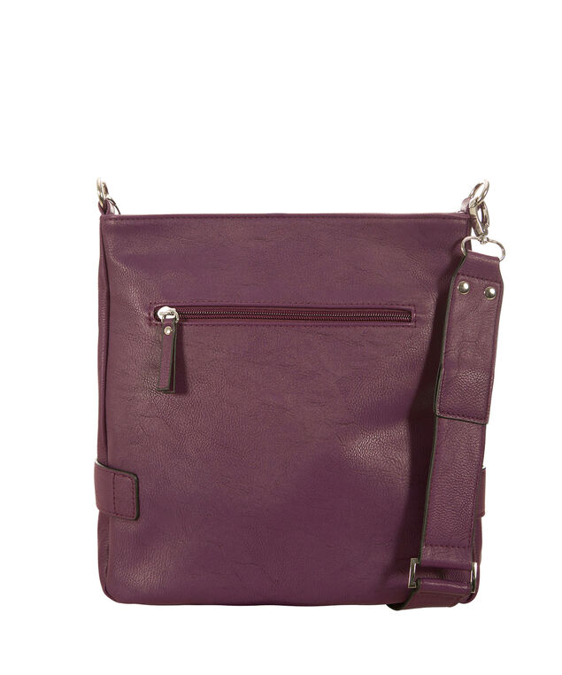 Double Zipper Crossbody Bag, Deep Violet, hi-res