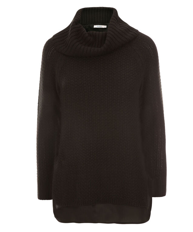 Chunky Cowl & Woven Sweater, Black, hi-res