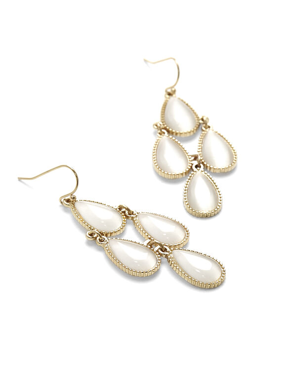 Ivory Chandelier Earring, Gold/Ivory, hi-res