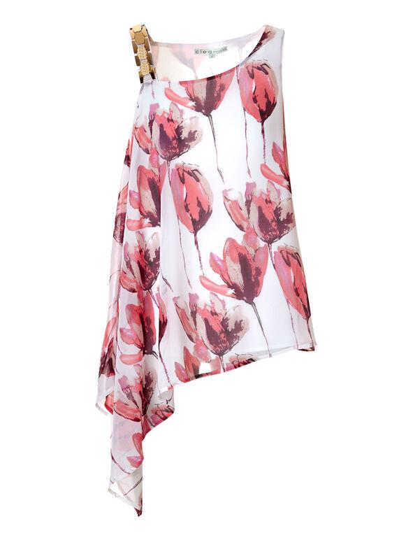 Floral Asymmetrical Blouse, White/Coral/Bordeaux, hi-res