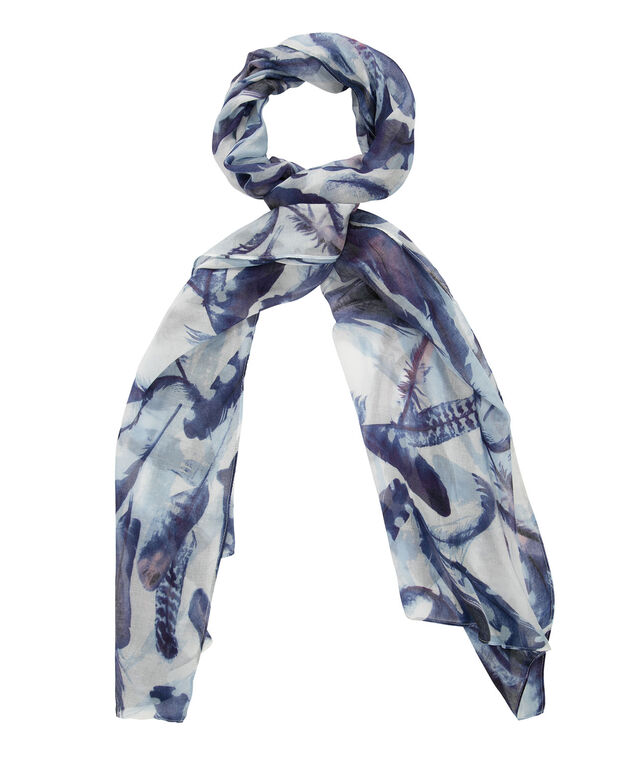 Feather Print Scarf, Coral/Blue, hi-res