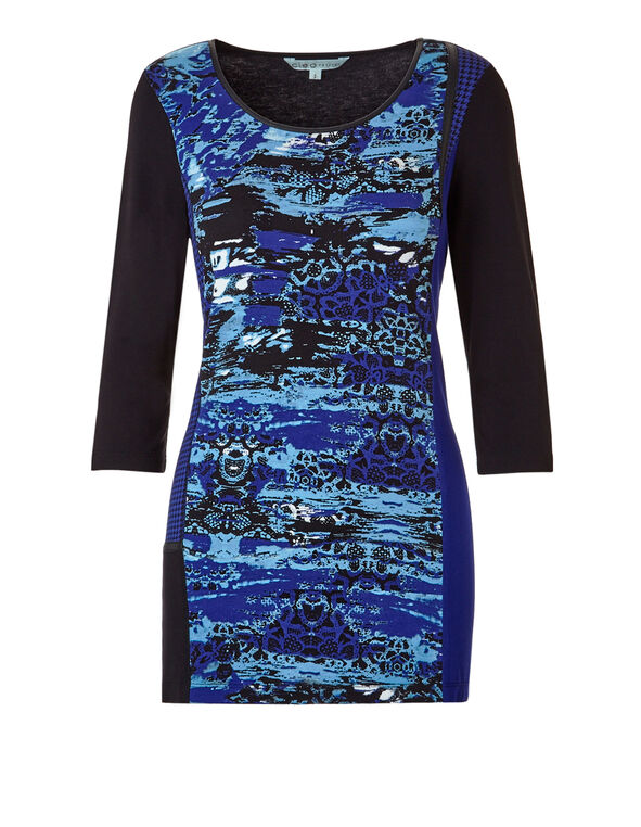 Royal Blue Mixed Print Tunic, Black/Royal Blue, hi-res