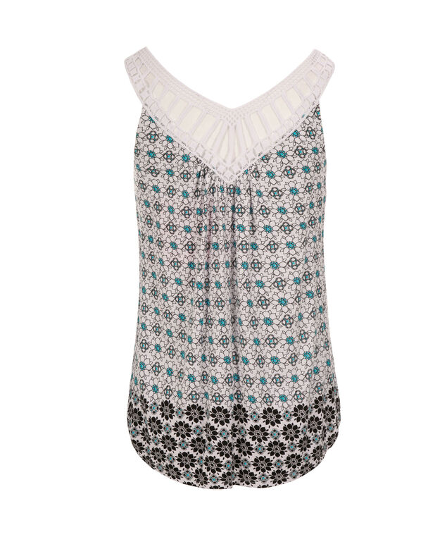 Crochet Trim Tank, Black/White Print, hi-res