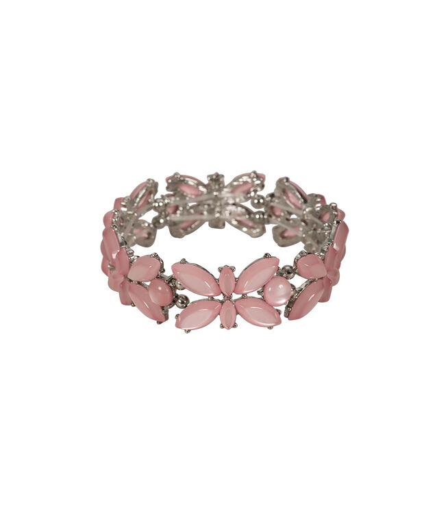 Teardrop Stone Stretch Bracelet, Baked Rose/Rhodium, hi-res