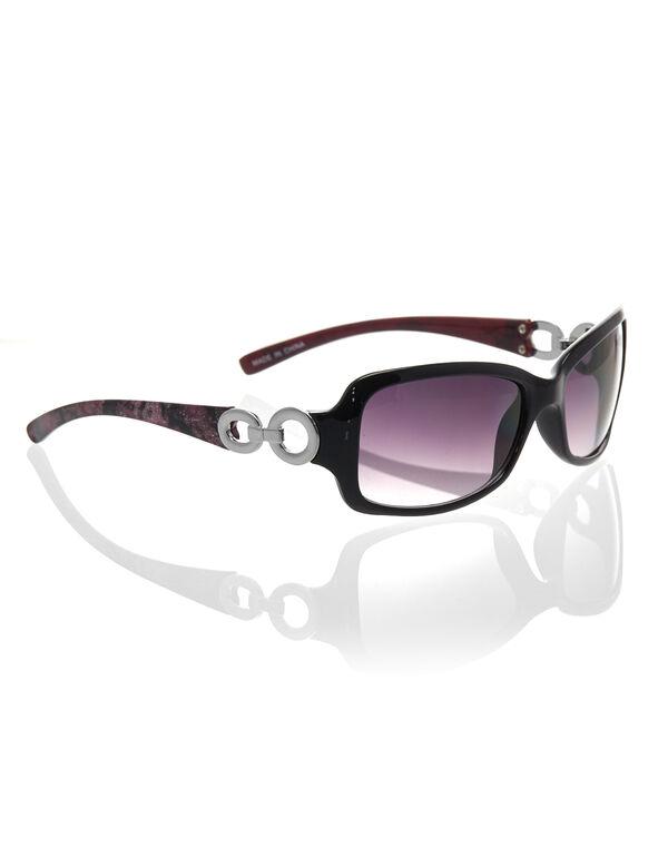 Pink Floral Print Sunglasses, Black/Pink, hi-res