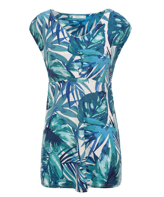 Extended Sleeve V-neck Tunic, Blue Print, hi-res