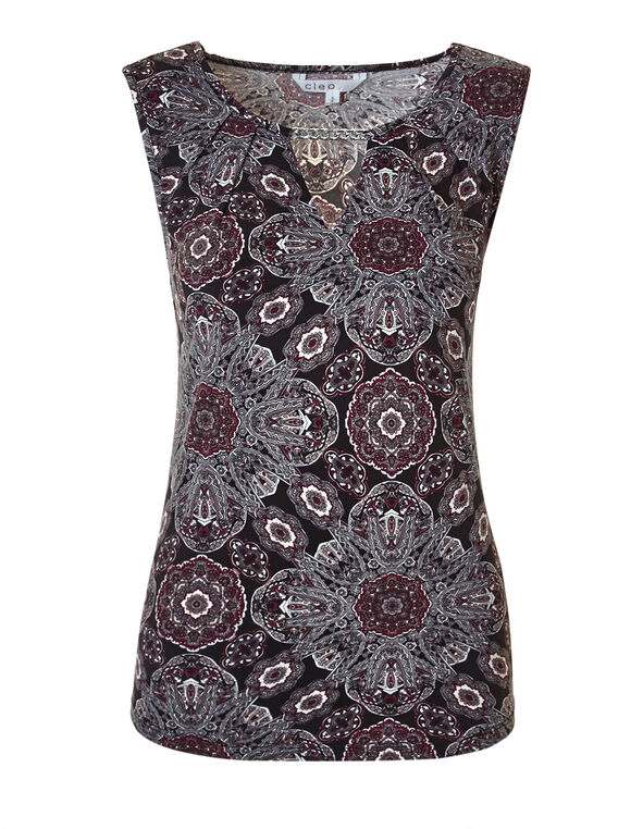 Claret Ornate Chain Top, Black/Claret/Charcoal/White, hi-res
