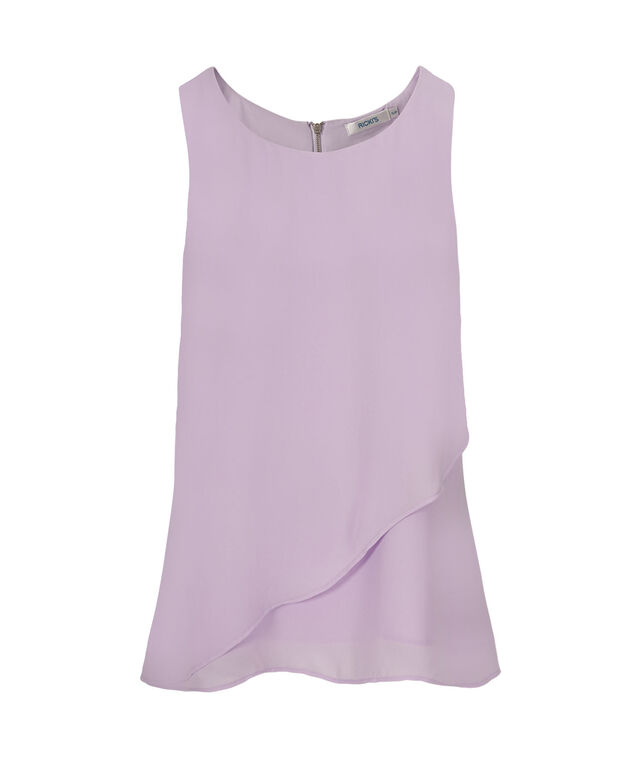 Sleeveless Ruffle Front Blouse, Solid Lilac, hi-res